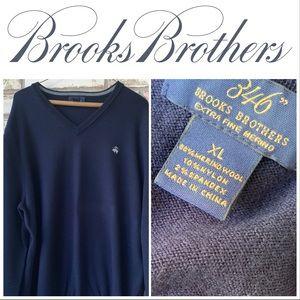 XL Brooks Brothers Navy V-Neck Merino Wool Sweater